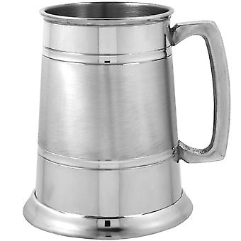 Groove Satin Band Pewter Tankard - 1 Pint