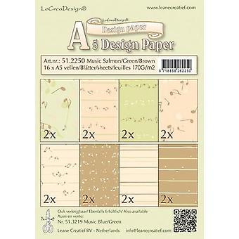 LeCrea - Design paper assortment Music salm/green/brown 51.2250 16xA5 170 gr.