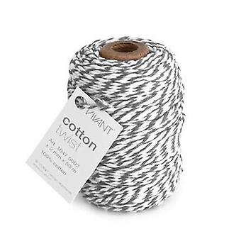 Vivant Cord Cotton Twist grey / white - 50 MT 2MM
