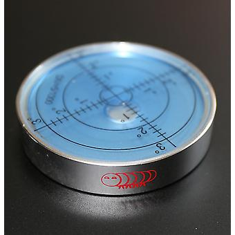 Magnetic Metal Large Spirit Bubble Level 60mm Diameter, Blue/Silver