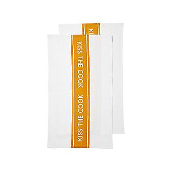Ladelle Kiss The Cook Terry Tea Towels, Mustard
