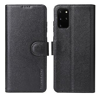 Voor Samsung Galaxy S20+ Plus Case iCoverLover Echte Lederen Wallet Cover Zwart