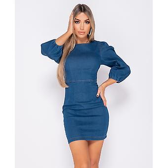 Puffed Sleeve Denim Bodycon Dress - - Blue