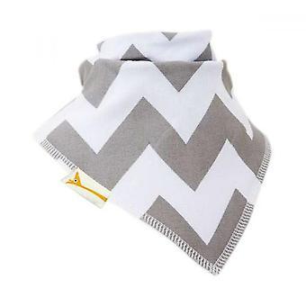 White & grey zig-zag bandana bib