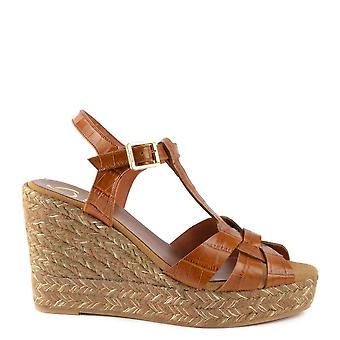 Kanna Margarita Brown Leather Espadrille Wedge Sandal