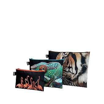 Loqi Women's National Geographic Tiger Chameleon Flamingo's Zip Pockets