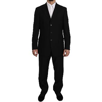 Z ZEGNA Black Solid Two Piece 3 Button Wool Suit -- KOS1918064