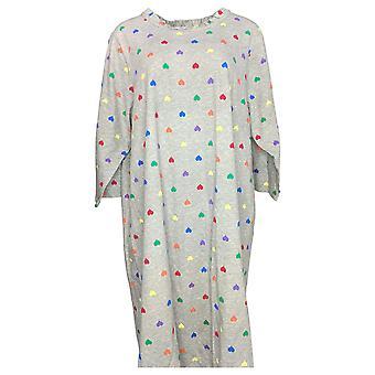 Potpourri Women's Plus 3/4 Sleeves Ruffle Neck Printed PJ Gown Gray