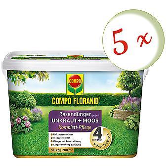 Sparset: 5 × كومبو Floranid® الأسمدة العشب ضد الأعشاب + الطحالب الرعاية الكاملة، 6 كجم