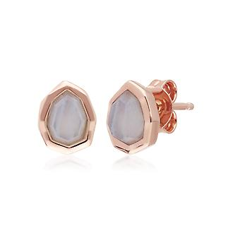 Irregular B Gem Blue Lace Agate Stud Earrings in Rose Gold Plated Sterling Silver 271E021201925