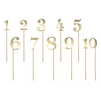 Gold Card Number Picks for Table Numbers or Birthday Cakes