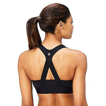 Brand - Core 10 Women's Cross Back Sports Bra with Removable cups, bla...