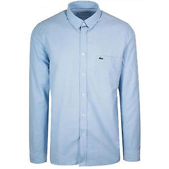 لاكوست بأكمام طويلة قميص أكسفورد الأزرق الفاتح
