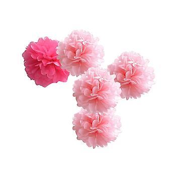 10PCS Tissue Papier Blumen handgefertigte Dekor 35CM rosa