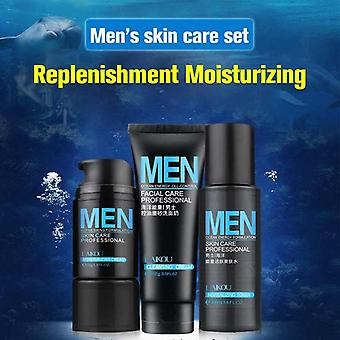 Professional Men's Mineral Moisturizing Cream, Toner, Facial Cleanser Set