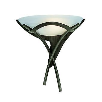 Strålkastare - 1 ljus inomhusvägg uplighter brun med Alabaster Glass, E27