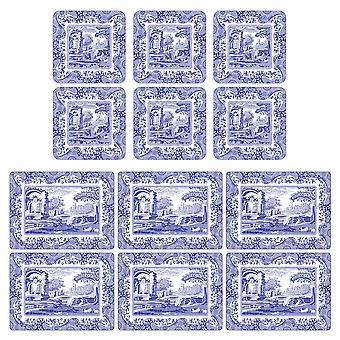 Pimpernel الأزرق Placemats الإيطالية وS coasters مجموعة من 6