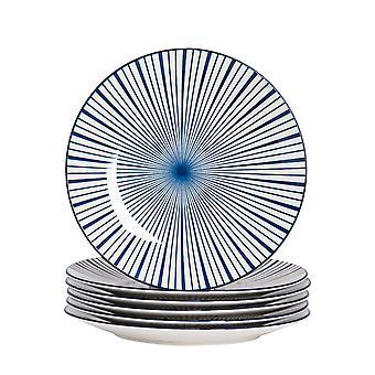 Nicola Spring 6 Piece Stripe Patterned Dinner Plate Set - Large Porcelain Dining Plates - Navy Blue - 26.5cm
