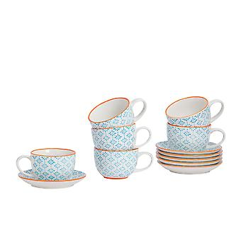 Nicola Spring 12 Piece Hand-Printed Cappuccino Cup and Saucer Set - Japanese Style Porcelain Coffee Teacups - Blue - 250ml