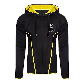 ESL Logo TEQ Full Length Zipper Hoodie Male Large Black/Yellow (HD406622ESL-L)