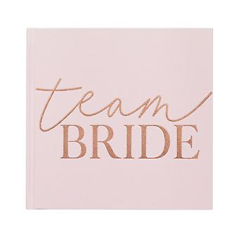 Pink Blush Velvet Team Bride Hen Party Keepsake Guest Book