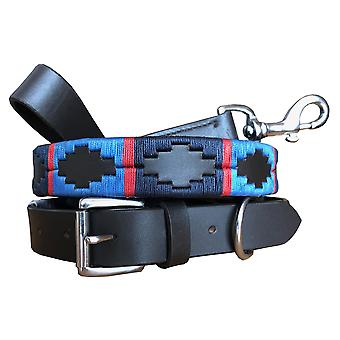 Carlos diaz genuine leather matching pair waxed embroidered polo dog collar and lead set cdhkplc77