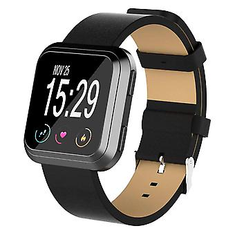 For Fitbit Versa 2/Versa/ Lite Genuine Leather Band Replacement Wristband Strap[Black]