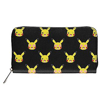 Pokemon Purse Pikachu Face all over print new Official Black Zip Around