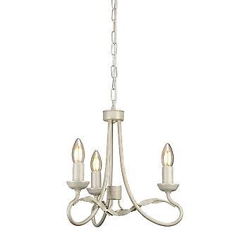 Elstead Beleuchtung Olivia drei Licht Kronleuchter oder Semi Flush In Elfenbein & Gold