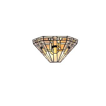 Aztek Tiffany Wall Lamp, 2 X E14, White/grey/black/clear Crystal