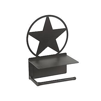 Rustikale braun lackiert Metall Western Star Toilette Papier Rolle Halter mit Telefonregal