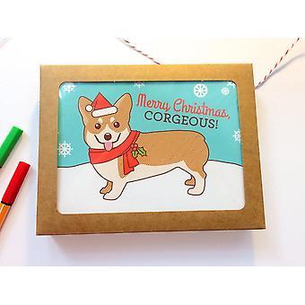 6 Corgin loman iloinen joulukortti