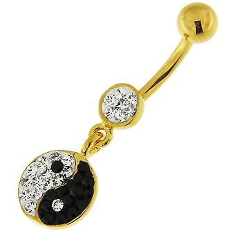 3 Micron 18K Yellow Gold Plated Multi Crystals Stone Yin Yang Dangling Sterling Silver Belly Bars Piercing