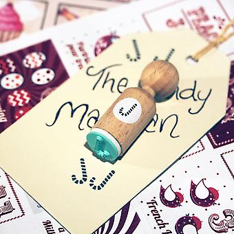 Christmas Candy Cane VERY MINI Round Rubber Stamp