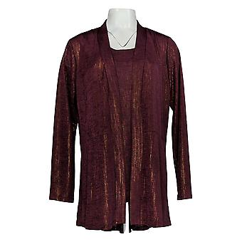 Susan Graver Women's Sweater Foil Print Cardigan & Tank Set Red A343099