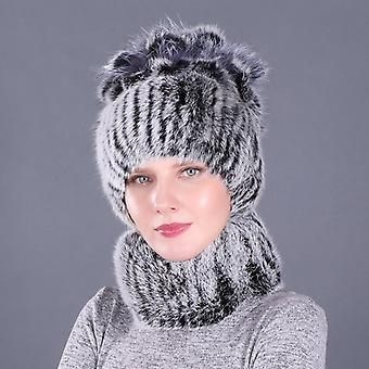 Newest Elastic Knitted Rabbit Fur Beanies Collars With Fox Genuine Winter Lady