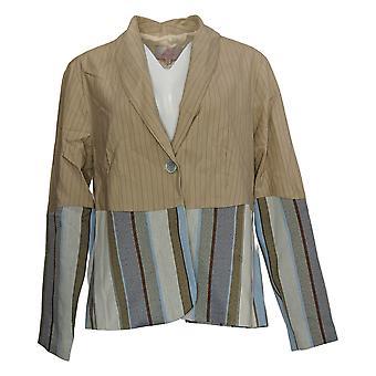 Laurie Felt Women's Costume Jacket/Blazer Double Striped Beige A377072