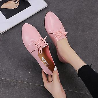 Flats Genuine Leather Flats Ladies Spring Shoes, Female Cutout Slip On Ballet