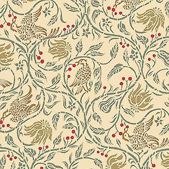 Melody Jane Dolls House Birds & Berries Miniature Print 1:24 Wallpaper Cream