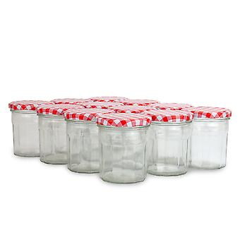 Set of 12 Wide Mouth Glass Jam Jars | M&W