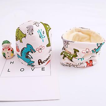 Plush Hat Scarf Set, Dino Print Neck Collar