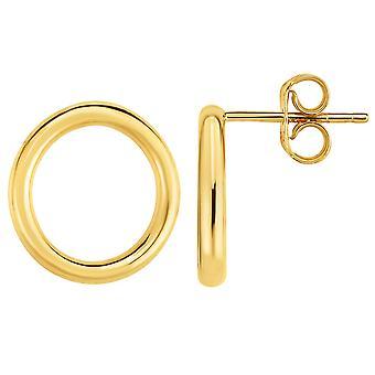 14K goud gele Open Circle O stijl Stud Oorbellen