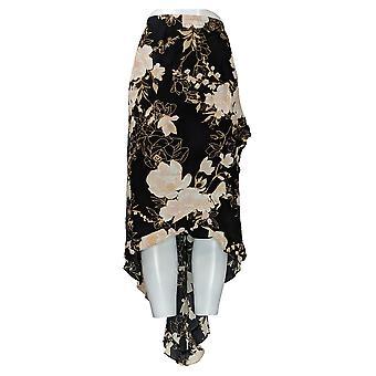 G.I.L.I. Skirt Plus Regular High-Low Ruffle Hem Waistband Black A308111