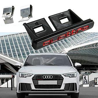Matt Black/Red ABS Quattro Grill Badge Emblem With Clips For S1 A3 A4 A5 A6 A7 A8 Q2 Q3 Q5 Q7 TT R8