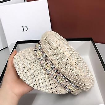Straw Weaving Ventilation Pearl Ribbon Street Leisure Lady Hat And Women
