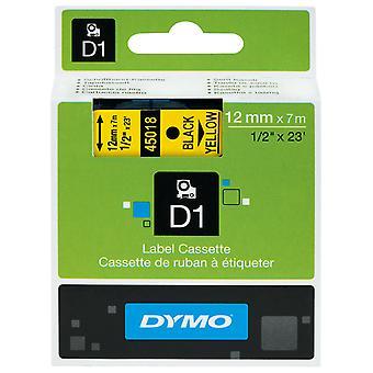 DYMO S0720580 D1 Tape 12mm x 7m Black on Yellow.