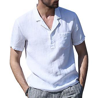Allthemen Men's Casual Shirt Solid Short-sleeved Lightweight Top