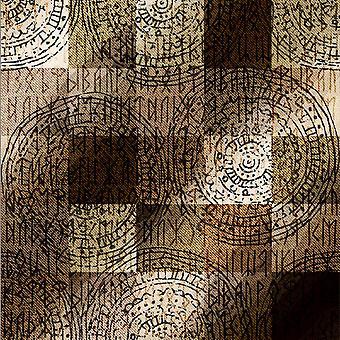 Símbolos egípcios de tapete impresso multicoloridos em poliéster, algodão, L80xP150 cm