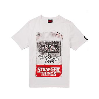 T-shirt Stranger Things pour hommes | Adultes The Upside Down Mind Flayer White Top | Netflix Original Gift Marchandises