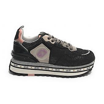 Shoes Sneaker Liu-jo Maxi Wonder In Suede/ Mesh Black Woman Ds21lj04